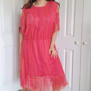 ASOS Fringe Dress Size US 18 Pink